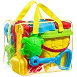 FoxPrint GT 1 Beach Sand Toy Set, Models & Molds, Bucket, Shovels, Rakes, Mesh Bag with Pull Strings for Easy Clean, & Reusab