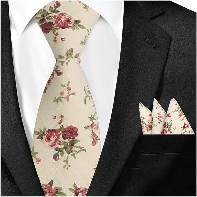 Mens Hanky Neck Tie Set Cotton Floral Skinny Necktie Pocket Square For Men Suit