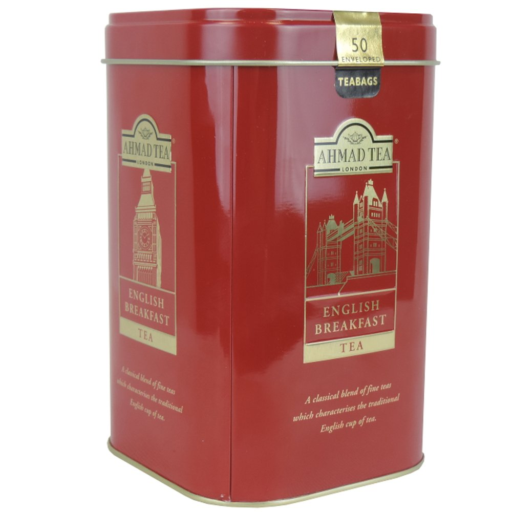 Ahmad Tea - English Breakfast 50 Enveloped Bags - Tin - 100g (Case of 12)