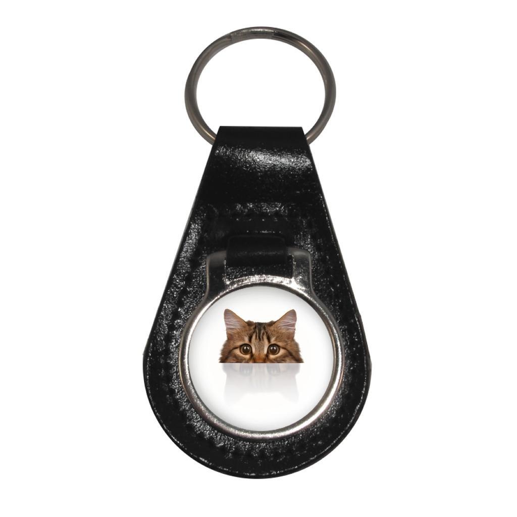 Peeking Cat Image Design Black Leather Keyring in Gift Box