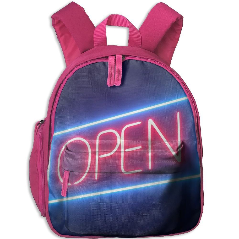Open Neon Sign Waterproof School Bag Durable Travel Camping Backpack For Kids Boy Girl