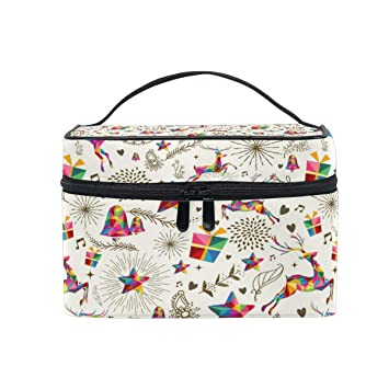 d28a619cdaa4 Amazon.com : Travel Cosmetic Bag Christmas Gift Deer Flower Toiletry ...