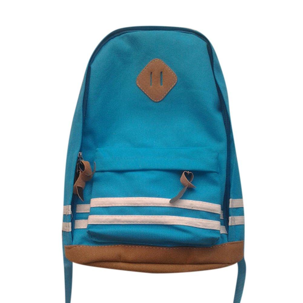 Women Men Casual Stripe Canvas Leisure Backpack Students School Bag Shoulder Backpack