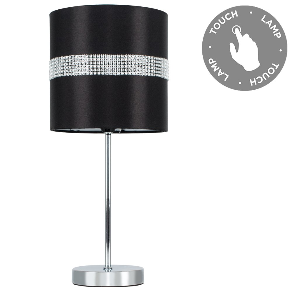 Black and silver table lamp amazon modern silver chrome dimmable touch table lamp with a decorative black and silver diamante jewel effect mozeypictures Gallery