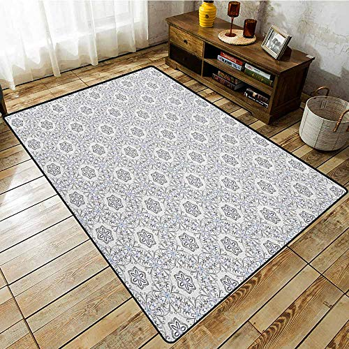 Pet Rug,Floral,Scroll Style Pattern with Curled Leaf Motifs Abstract Modern Mosaic Tile,for Outdoor and Indoor Black Blue and White