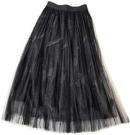 chenpaif - Falda larga para mujer, cintura alta, varias capas ...