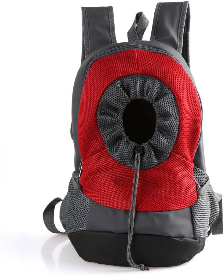 RC GearPro Mochila portátil para Mascotas, diseño de Cabeza hacia afuera, Ajustable, para Gato, Perro, Viaje, Bolso de Hombro Delantero, fácil de Ajustar para Viajar, Caminar, Acampar (L, Rojo)
