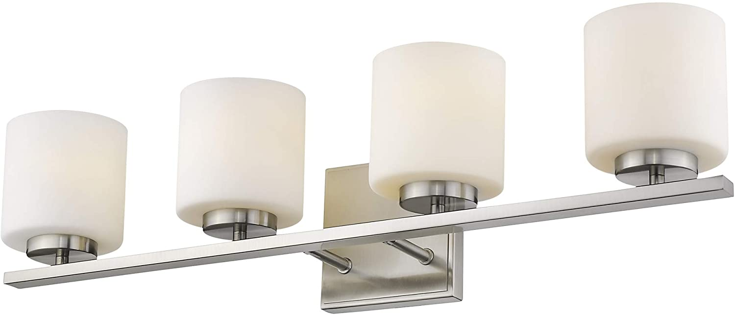 Emliviar 4 Light Bathroom Vanity Light Fixture Brushed Nickel Finish With White Frosted Glass Shade 21002 4b