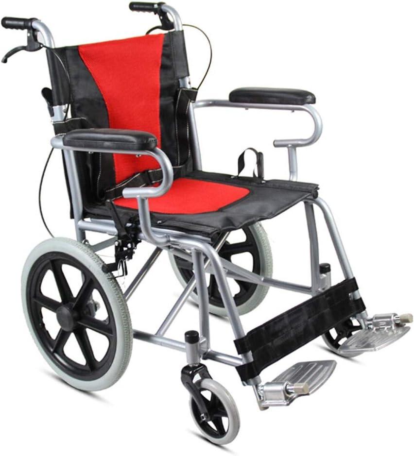 IOFESINK Walker Chair Wheelchair Silla de Ruedas Manual Asistente de Silla de Ruedas autopropulsado Plegable Frenos de Carrera Reposapiés extraíbles A Prueba de pinchazos con reposabrazos y portátil