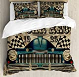 Ambesonne Cars Duvet Cover Set Queen Size, Traditional Old Car Race Theme Nostalgic American Car with Flags Rusty Look, Decorative 3 Piece Bedding Set with 2 Pillow Shams, Sand Brown Black Blue