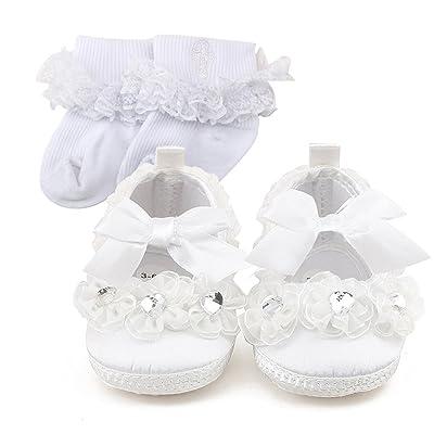 nouveau produit a62e7 77dbb Delebao Blanc Chaussure Bebe Fille Baptême Pantoufle Bébé ...