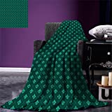 smallbeefly Fleur De Lis Custom printed Throw Blanket Diagonal Checkered Pattern with Heraldic Symbols Retro Royal French Velvet Plush Throw Blanket Sea Green Jade Green