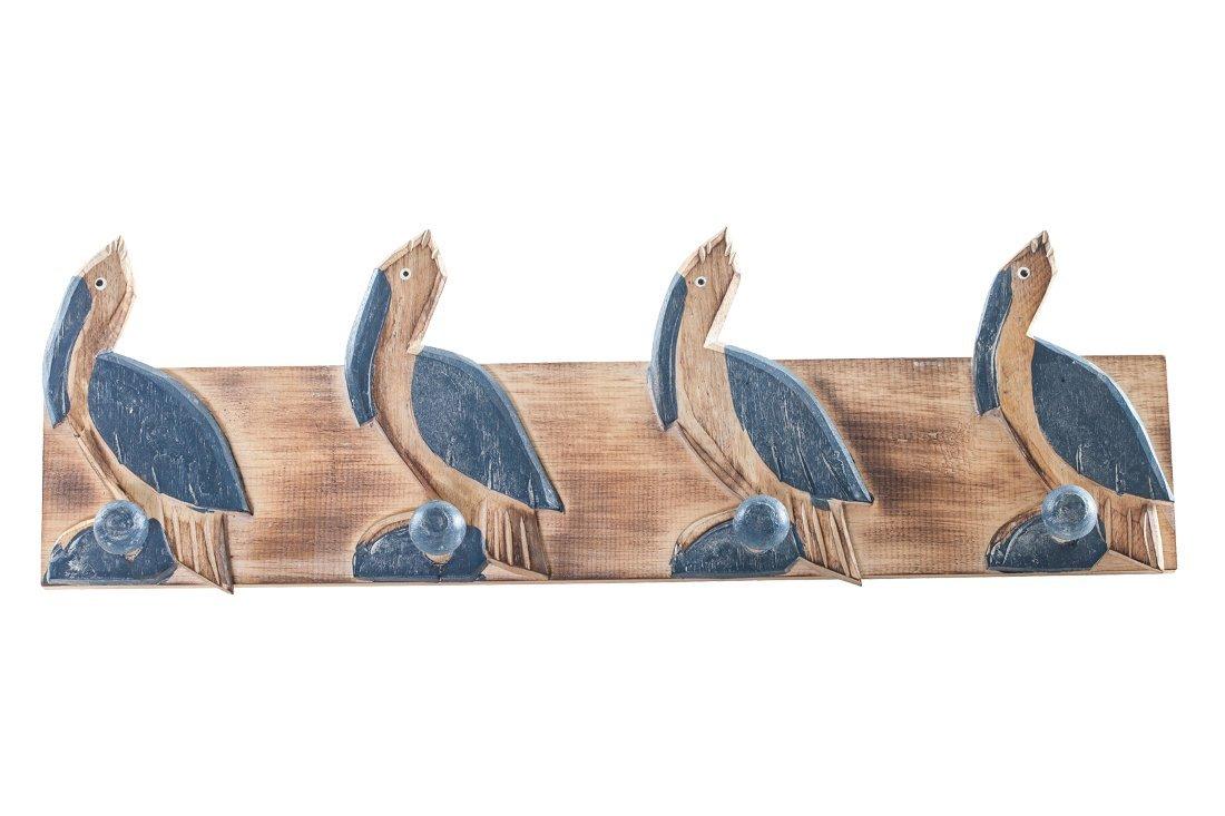 The Seashell Company Wooden Bathroom Towel Rack-4 Pelicans 20'' | Wall Hanger | Oceanic Rustic Beach Towel Hooks