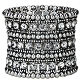 YACQ Jewelry Women's Multilayer Crystal Stretch Bracelet 3 Row