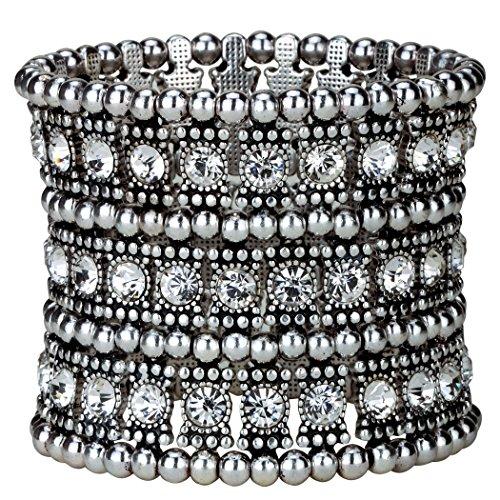 YACQ Jewelry Women's Multilayer Crystal Stretch Bracelet 3 Row