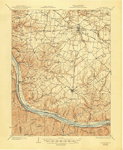 YellowMaps Felicity OH topo map, 1:62500 scale, 15 X 15 Minute, Historical, 1931, updated 1947, 20.7 x 17 IN - - Augusta Fifteen Light