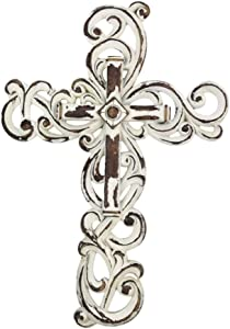 "Comfy Hour 12"" White Wall Hung Classic Cross, Stone Resin Sculpture, Vintage, White Antique Style"