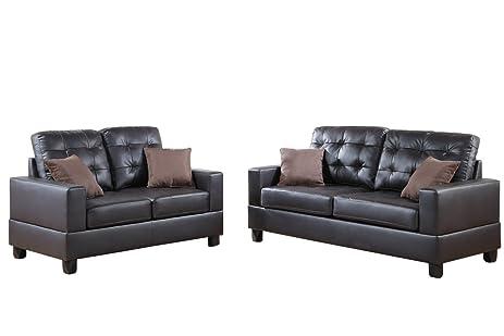 Amazoncom Poundex F7857 Bobkona Aria Faux Leather 2 Piece Sofa