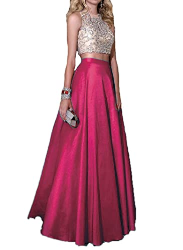 BessDress 2 Piece Embellished Bodice Stain Ball Gown Prom Party Dresses Long BD187