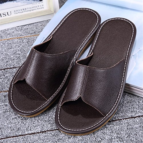 Spring Wooden Noir Floor Autumn Slippers Corium Leather Men for Anti Women Smelly Summer Cowhide TELLW M Zw8qAEc