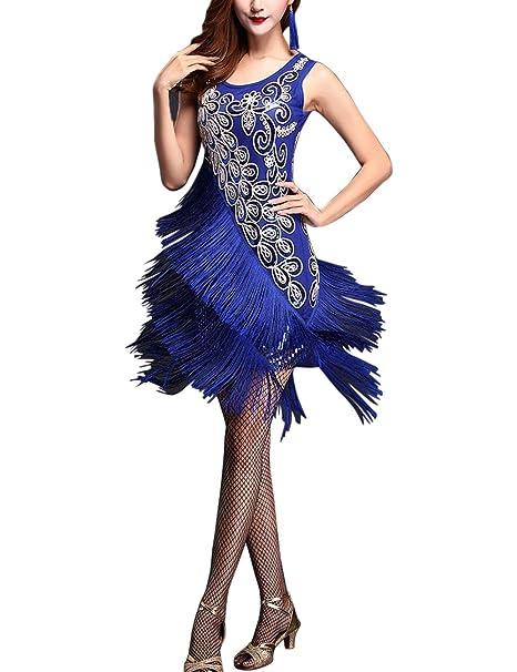 4748bcda5ec8 besbomig Sexy Tassel Sequins Latin Dance Dress Womens Party ...