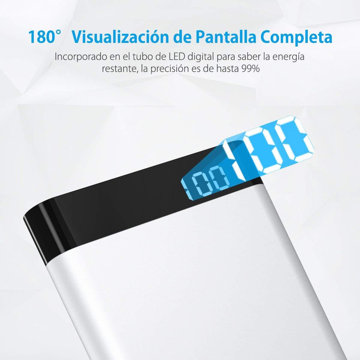 POWERADD Virgo I USB Type C Batería Externa de 10000mAh con Pantalla LED Digital Cargador Portátil Type C de Entrada y Salida (Cable USB Tipo C y Micro Cable Incluidos)-Argentado