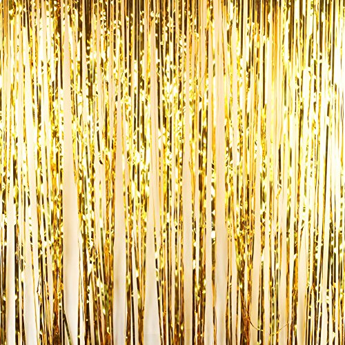 Andaz Press Gold Foil Fringe Party Door Curtain Backdrop, 2-Pack, 6-Feet Total Width x 8-Feet Height, Shiny Metallic Copper Champagne Themed Bridal Shower Supplies]()