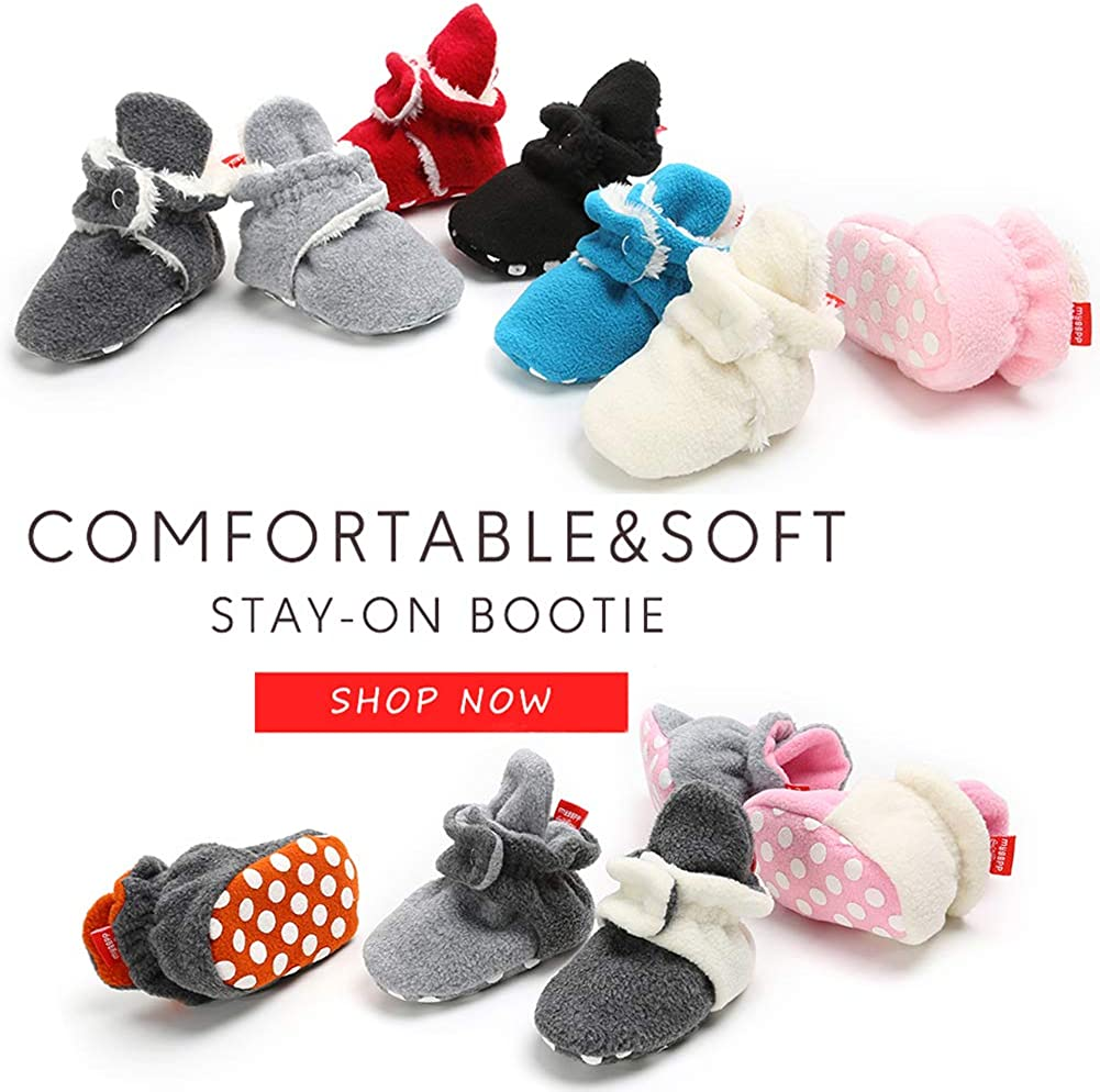 Mybbay Newborn Baby Boy Girl Soft Fleece Booties Stay On Slippers Socks Shoe
