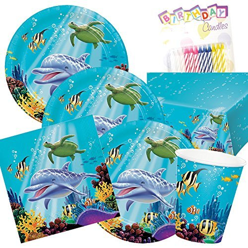 Ocean Sea Life Theme Party Supplies Pack (Serves-16)