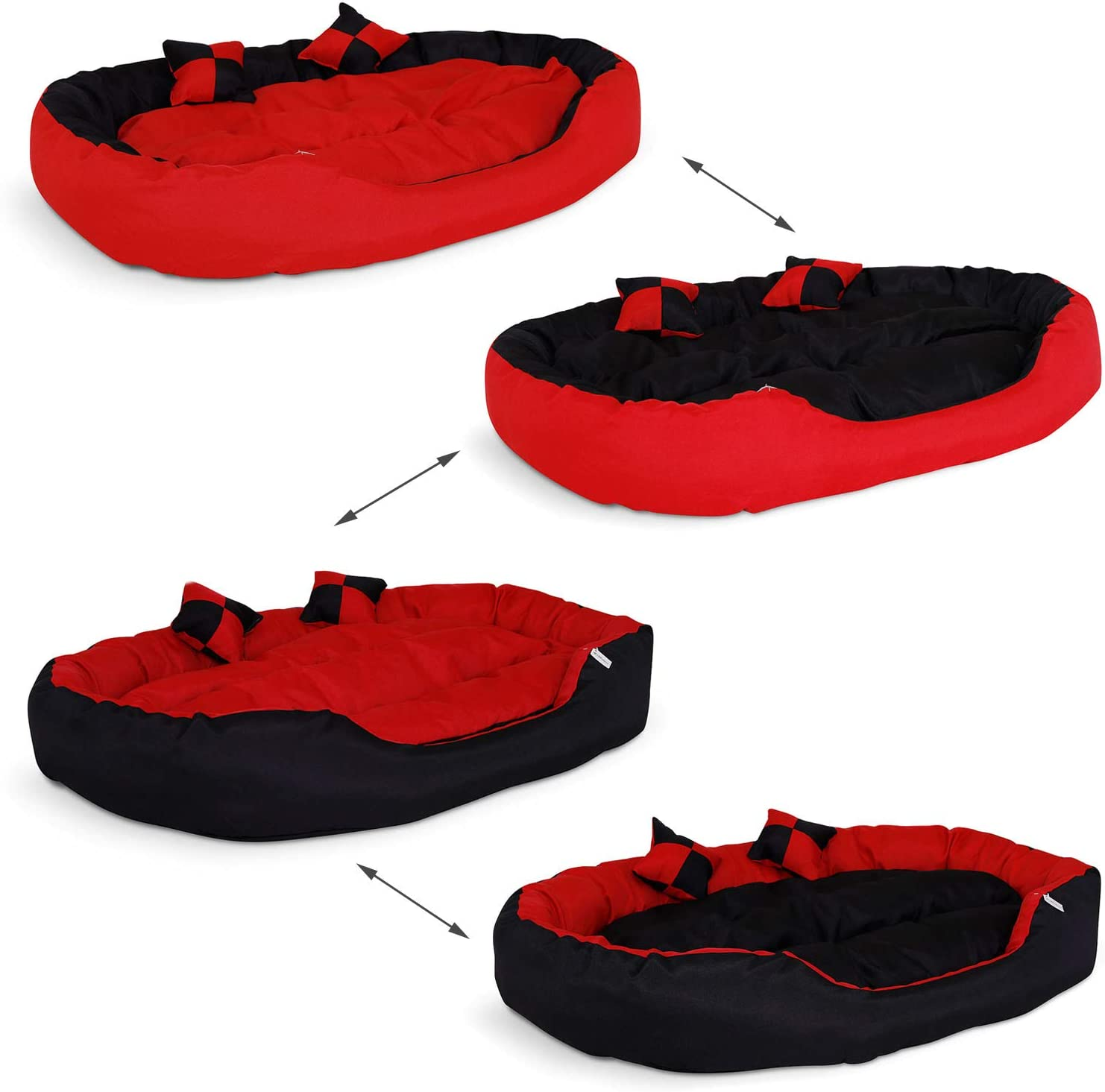 cama de color rojo y negro con cojines, reversible para perros grandes