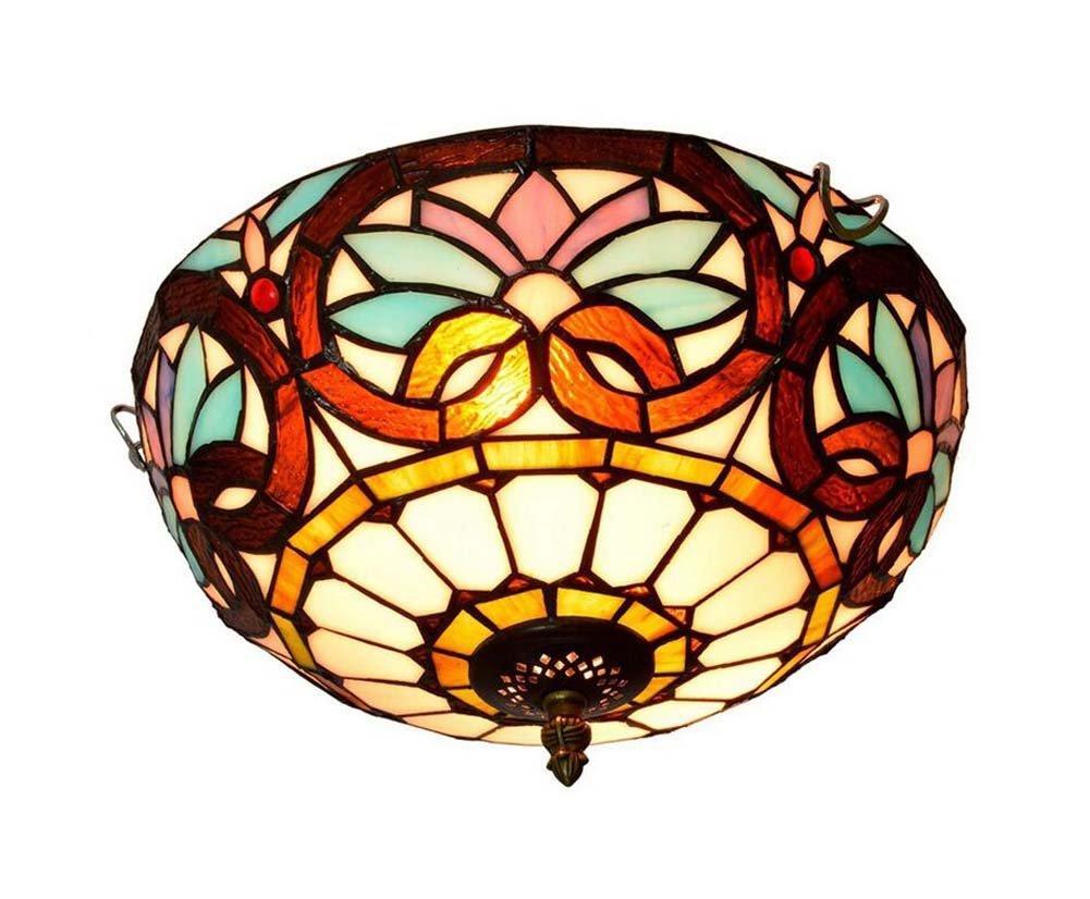 12-Zoll-Vintage-Tiffany-Stil Deckenleuchte Kreativität Mittelmeer Glasmalerei Deckenleuchten Wohnzimmer Schlafzimmer Korridor Dekoration Kronleuchter Leuchte E27,110-240V