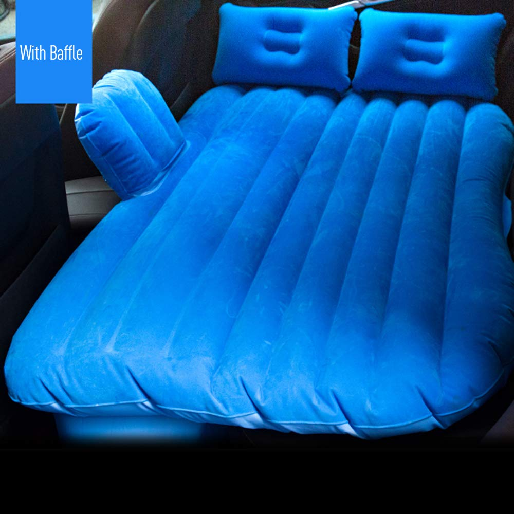 Walmeck Car Travel Inflatable Mattress Air Bed Cushion Portable Camping Universal for SUV Extend Air Couch with Two Air Pillows