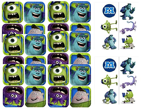 MU Monster University Party Dessert Paper Plates - 24 Plates with 12 Tattoos