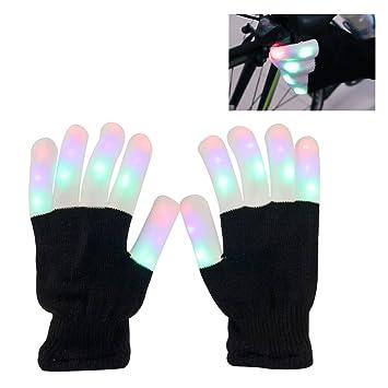 leuchtende Handschuhe, LED blinkende bunte Finger Gloves, Coole ...