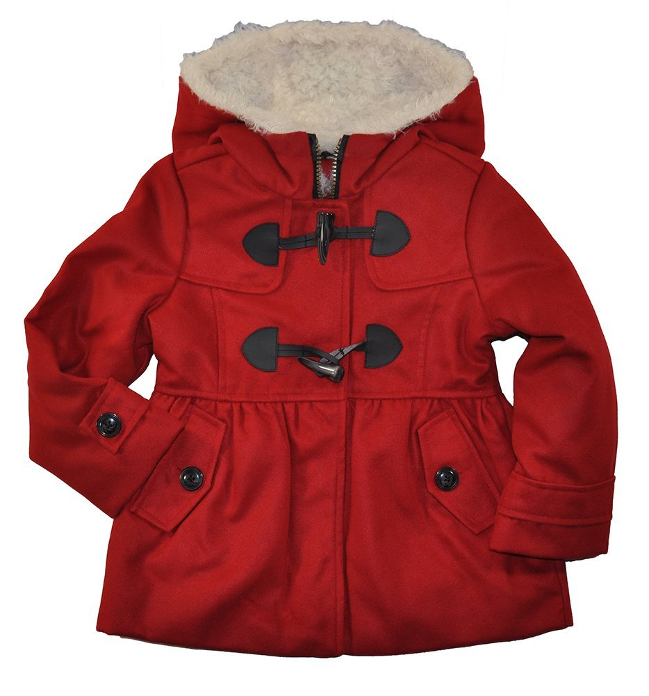 Weather Tamer Little Girls Red Faux Wool Toggle Front Outerwear Coat (6X)
