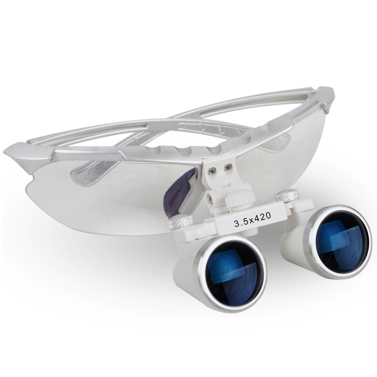 Angelwill Dental Binocular Loupes Surgical Optical Magnifying Glass Medical Magnification Loupes 3.5X 420mm Silver