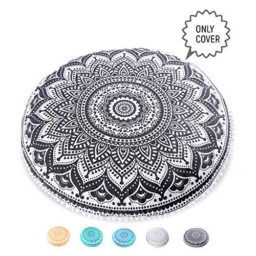 Mandala Life ART Bohemian Decor Floor Cushion Cover - Round Meditation Pillow Pouf Case - 100% Hand Printed Organic Cotton by (Black Lotus) by Mandala Life ART