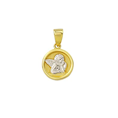 Gold angel pendant with white gold plate pendant in 14 carat gold gold angel pendant with white gold plate pendant in 14 carat gold yellow gold wedding 3706 aloadofball Image collections