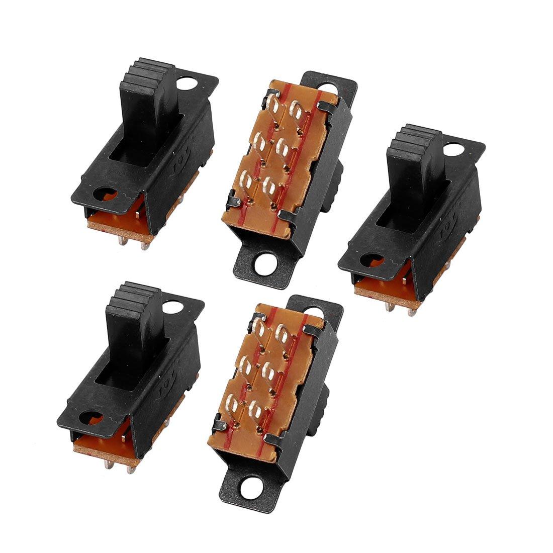 sourcing map 10uds 8P Micro Interruptor de Interruptor de Enclavamiento deslizante de 3 Posiciones de Montaje en Panel DPDT