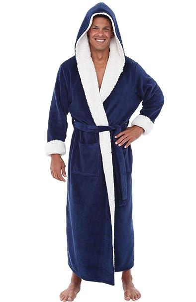 Alexander Del Rossa Mens Fleece Solid Colored Robe 292892a68
