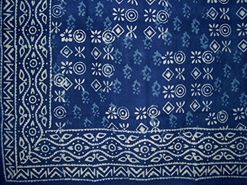 Hand Block Printed Square Dabu Cotton Tablecloth 70