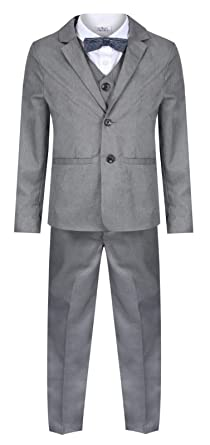 9ca01bd7b Boys Suits Grey 5 Piece Boys Wedding Suit Page Boy Party Ceremony Prom 9  Months to 14 Years: Amazon.co.uk: Clothing