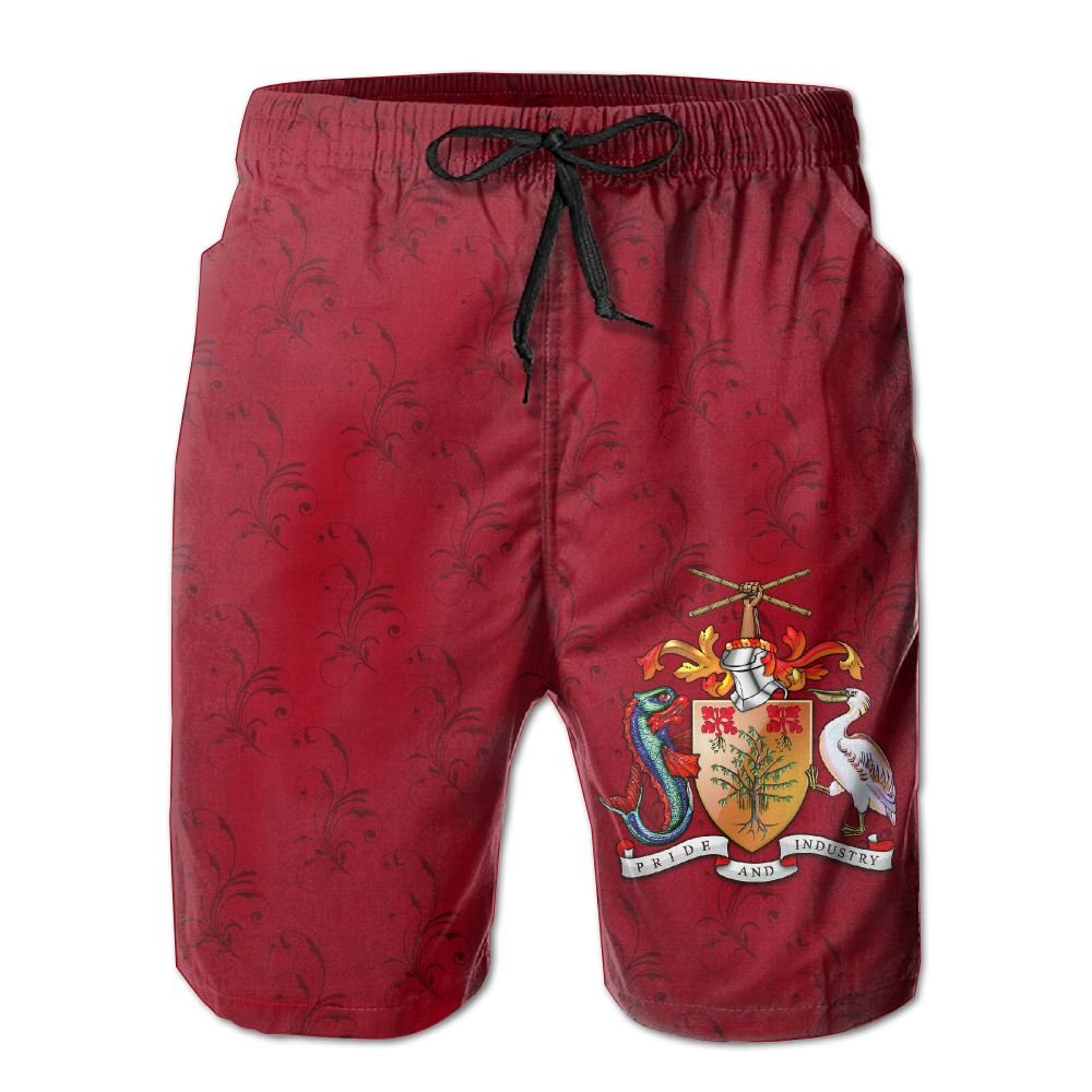 Qinf New Cartoon Fashion Coat Of Arms Of Barbados Shorts Swim Trunks Casual Shorts For Man