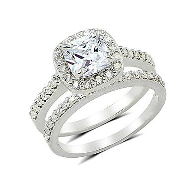 Amazoncom Cubic Zirconia Cushioncut Halo Bridal Engagement Ring