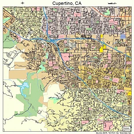Amazon Com Image Trader Large Street Road Map Of Cupertino