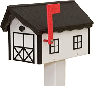 product image for Recycled Poly Plastic Barn Mailbox USA Handmade (Black & White)