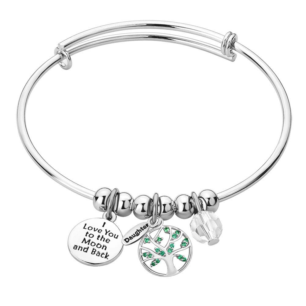 Moonlight Collections I Love You to The Moon and Back Family Tree Positive Wire Adjustable Bangle Charm Bracelets