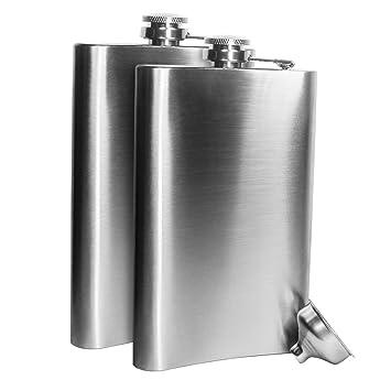 Petaca de Acero Inoxidable para Whisky Licor Alcohol con tapón de Rosca Embudo, Acero Inoxidable, Plateado,Duradero y Resistente a la corrosión ...