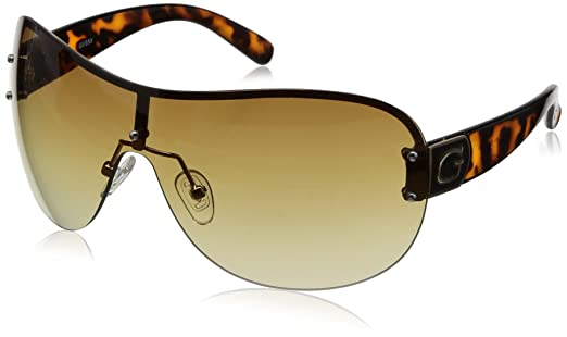 Guess Damen GU7303 Oval Sonnenbrille, GU7303_S57 Tortoise & Brown