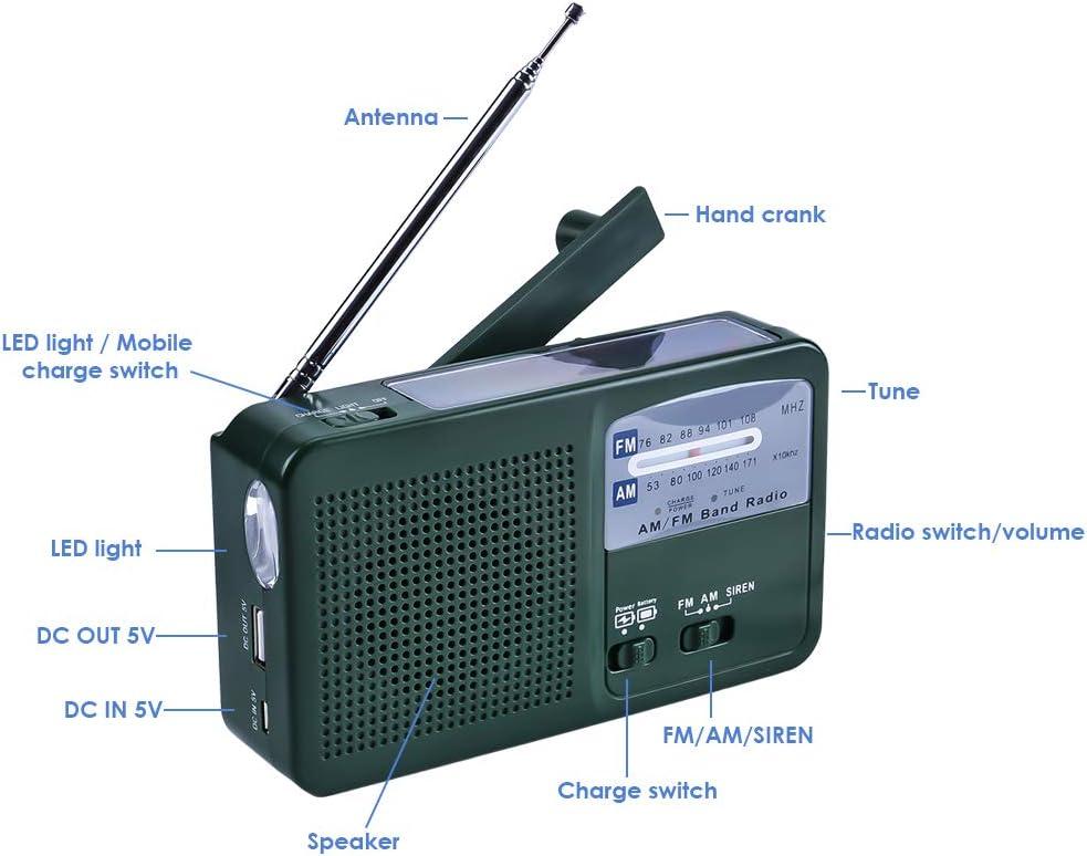 Olycism FM AM Radio Portatile solare e manovella d/'emergenza Solar radio con Allarme SOS Torcia e PAWERBANK per Smartphone
